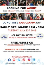 Sault Ste. Marie Job Fair – July 23rd,  2019